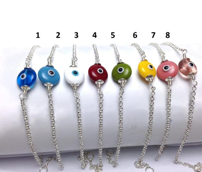Evil eye silver bracelet choice of colors