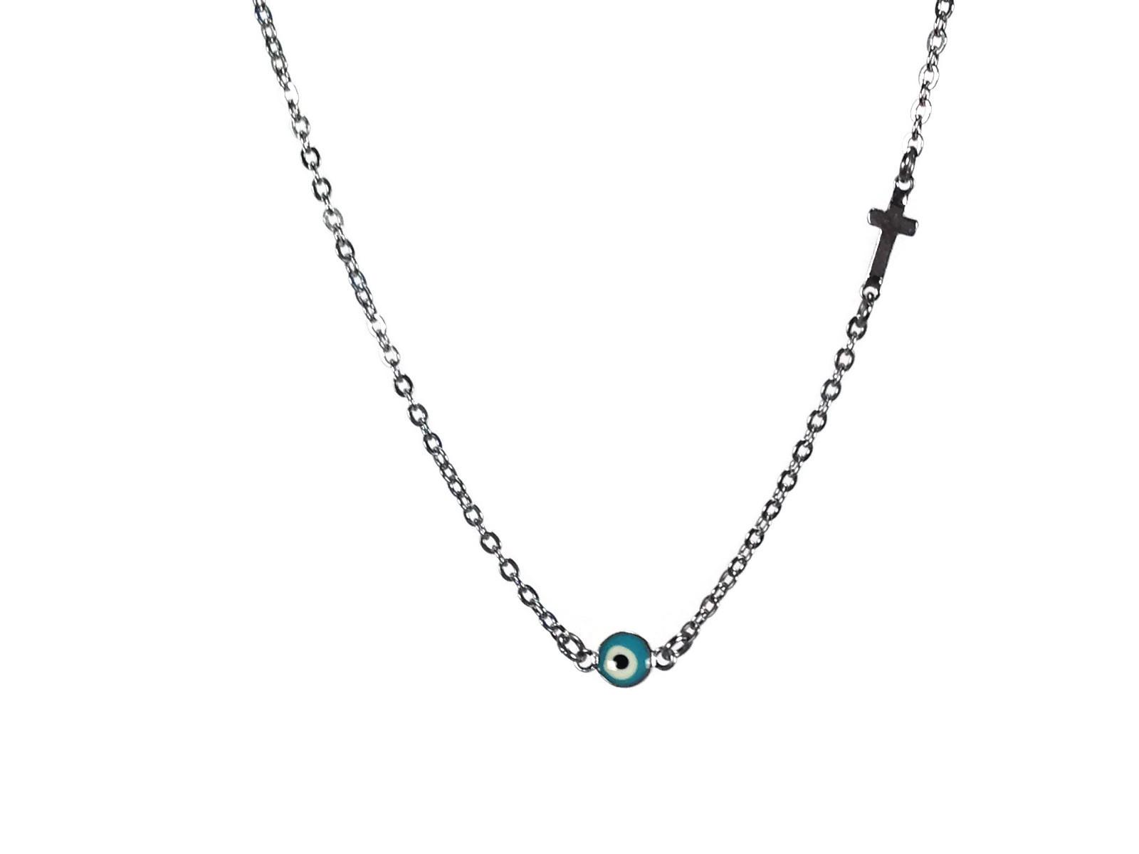 evil eye cross turquoise in stainless steel