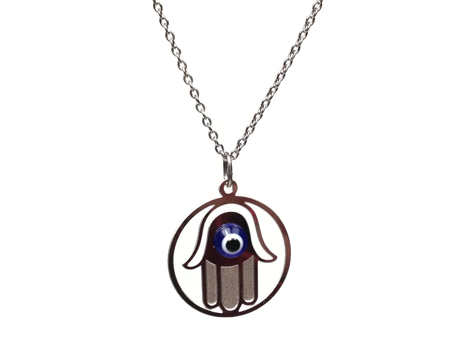 hamsa hand pendant in stainless steel