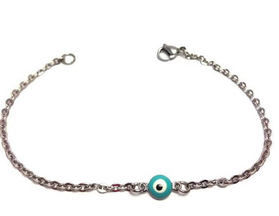 turquoise evil eye bracelet in stainless steel