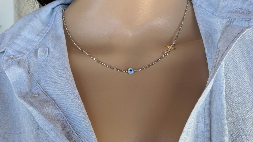 Silver evil eye cross necklace