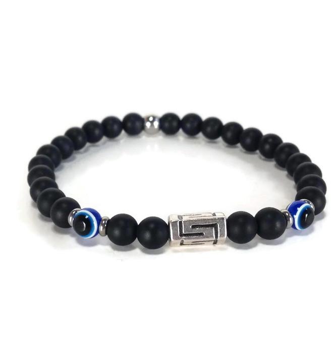 Greek key evil eye onyx bracelet – Greek gift