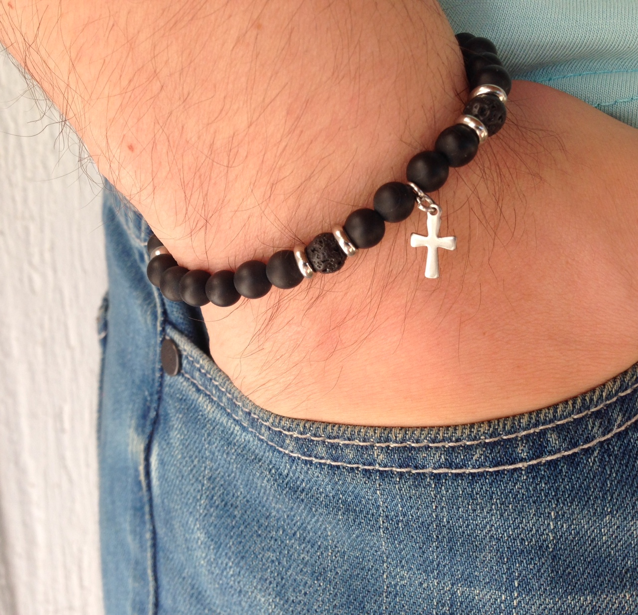 Men cross bracelet with black onyx matte beads – lava beads –