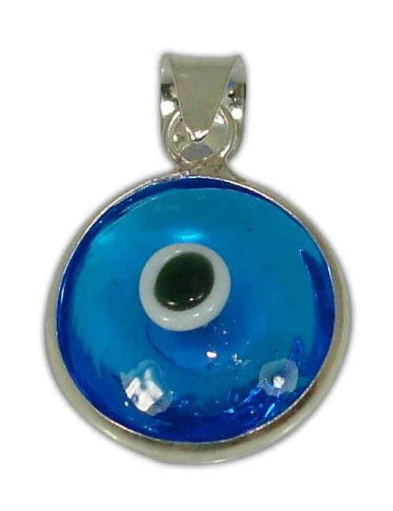 Sterling silver evil eye pendant – Blue transparent – 10mm – 0.39″