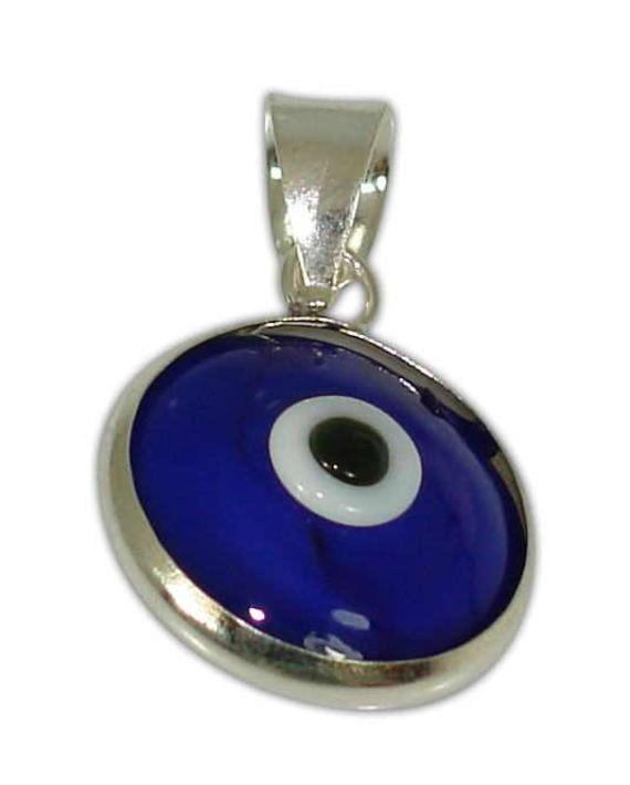 Sterling silver evil eye pendant – Dark blue – 10mm – 0.39″