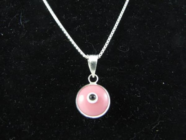 Sterling silver evil eye pendant – Pink – 10mm – 0.39″