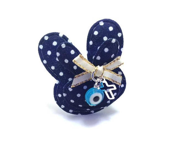 rabbit evil eye safety pin blue