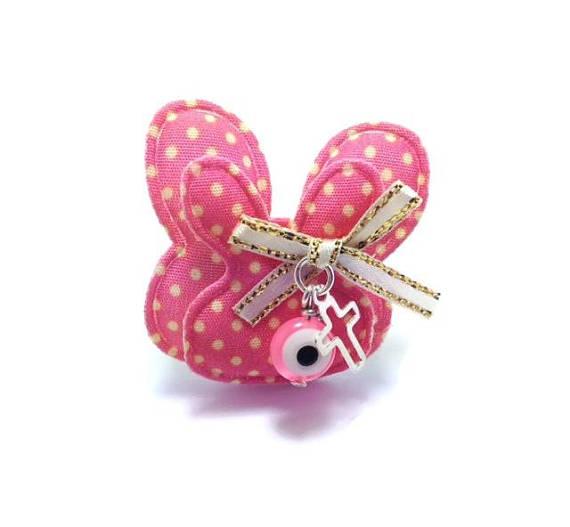 rabbit evil eye safety pin pink