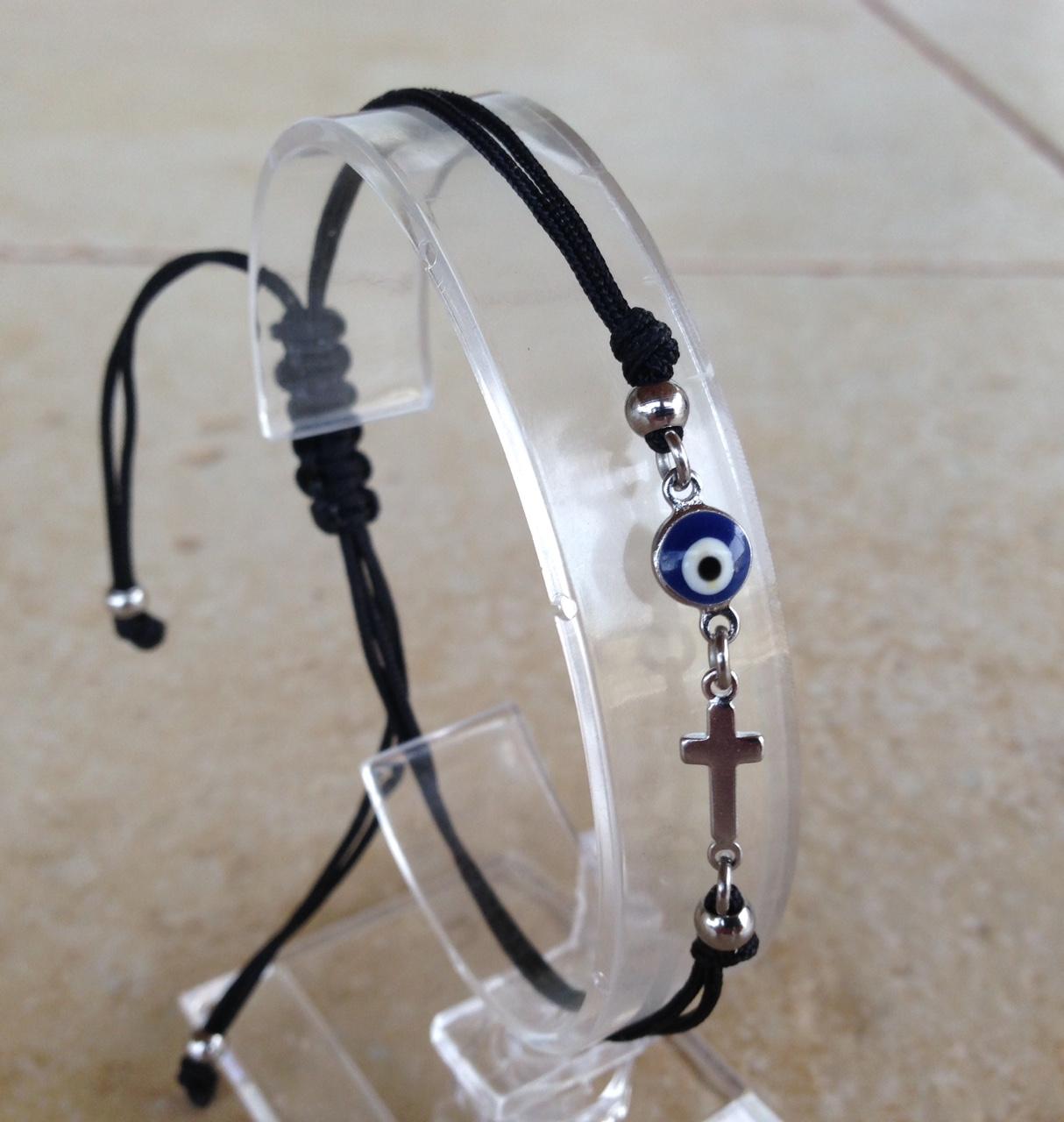 Evil eye cross dark blue stainless steel bracelet