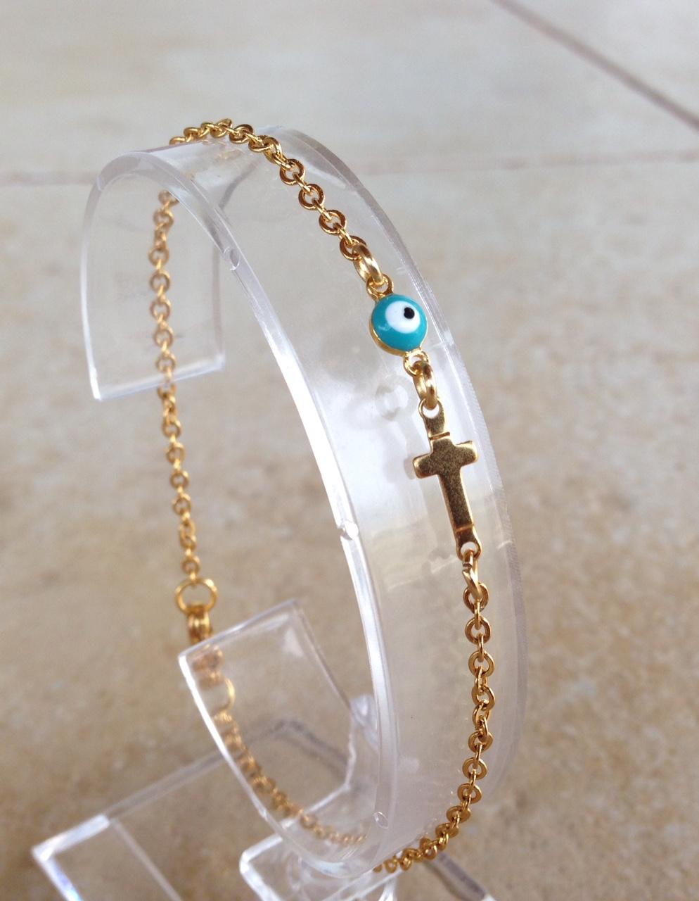 Evil eye cross gold plated bracelet