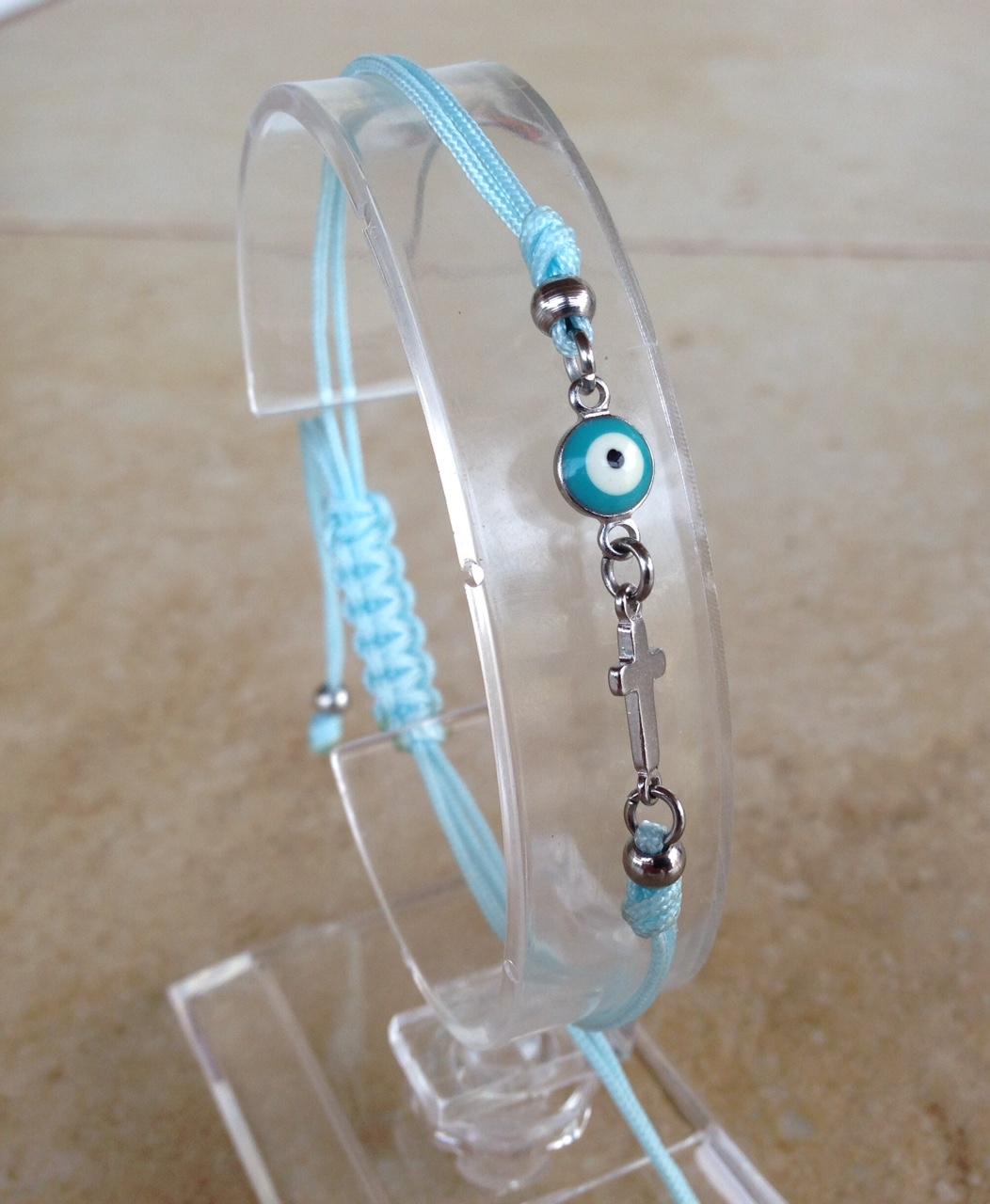 Evil eye cross turquoise stainless steel bracelet