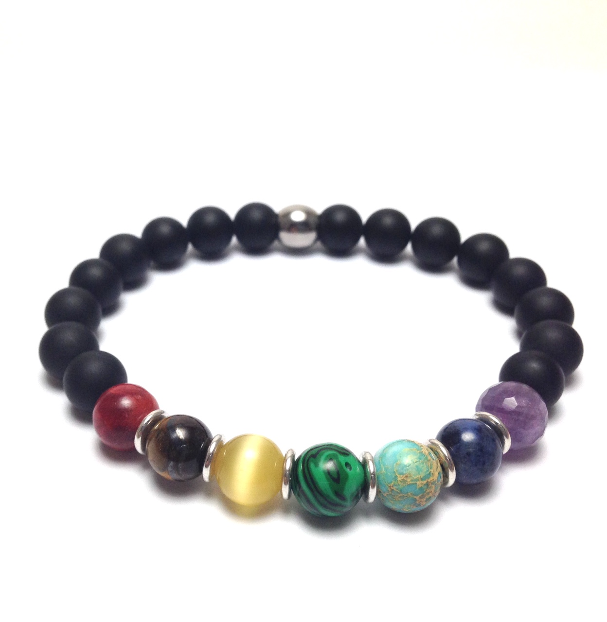 Chakra and onyx bracelet in stainless steel
