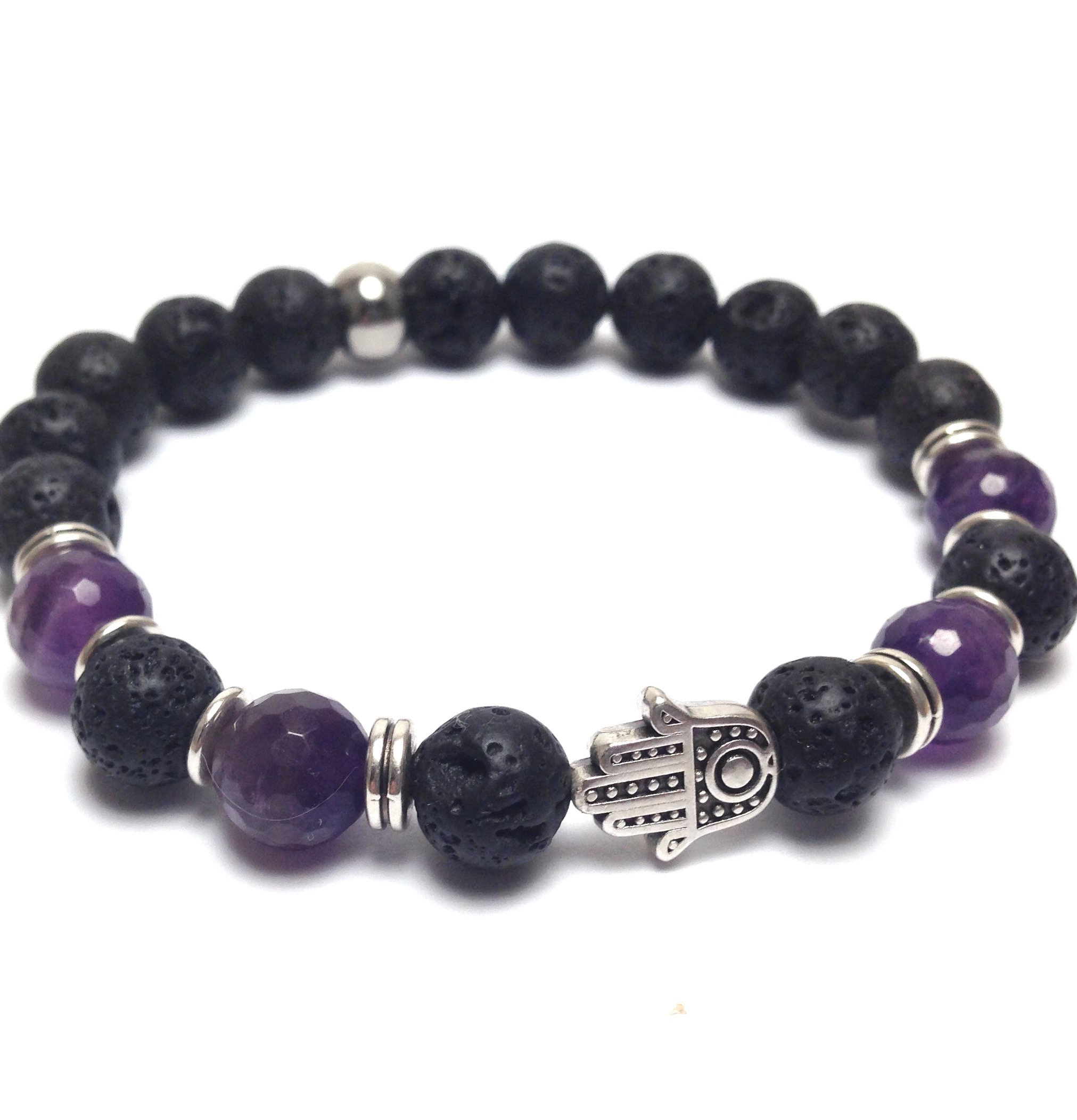 Hamsa hand amethyst and lava beads gemstone bracelet