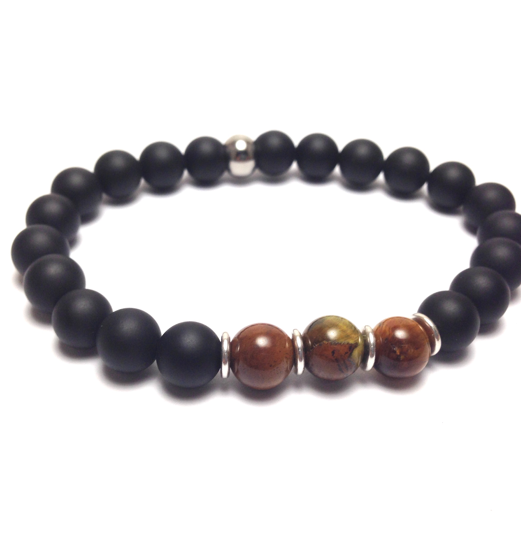 Men's onyx and tiger eye bracelet
