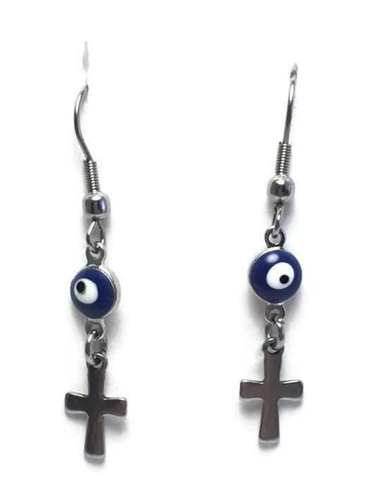 Evil eye cross earrings