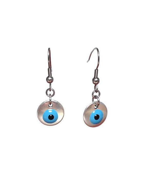 Evil eye disc earrings