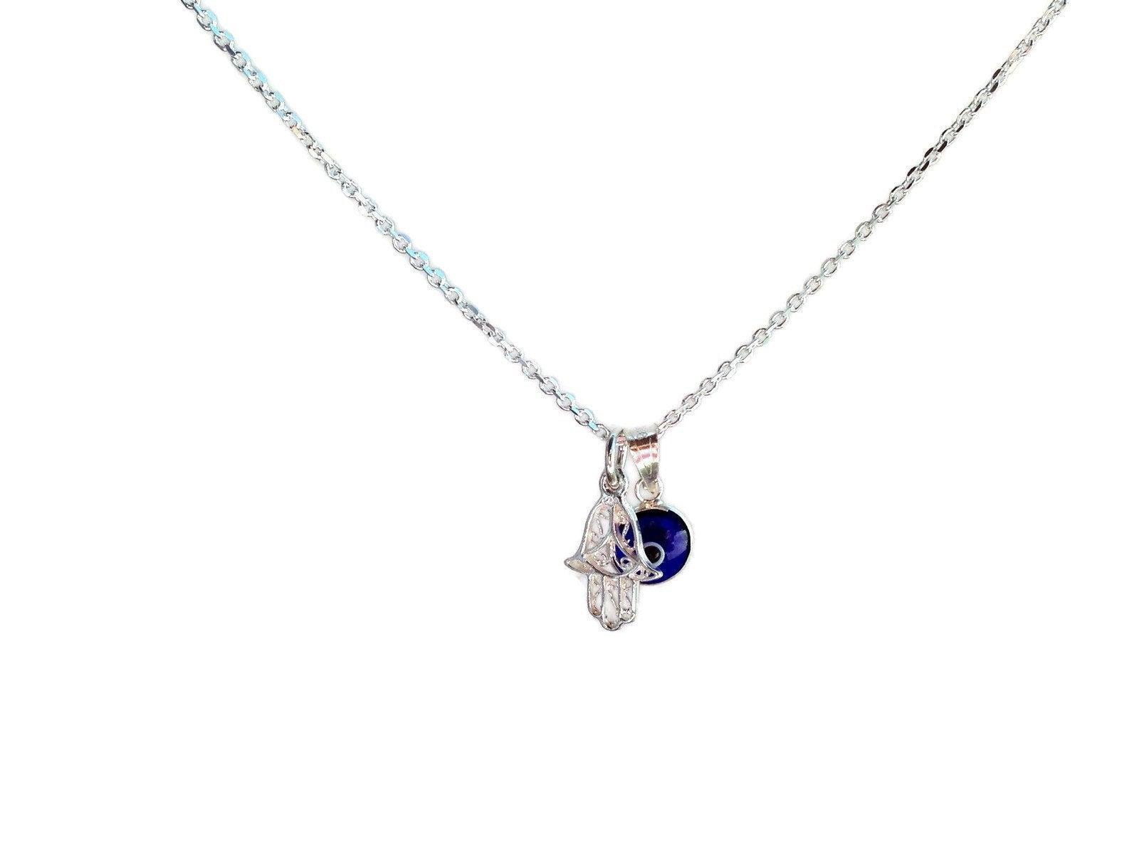 silver hamsa hand necklace