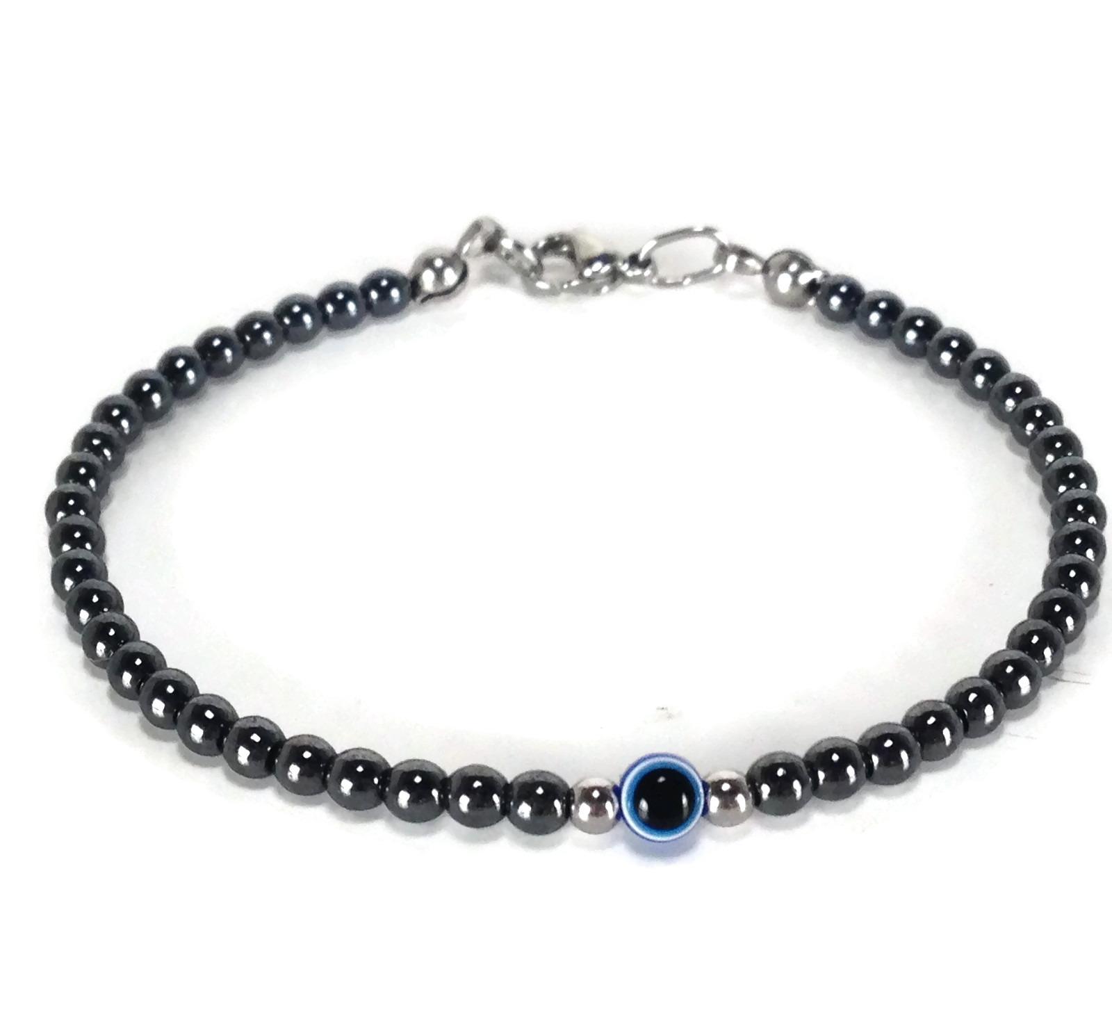 hematite dark blue evil eye bracelet 001