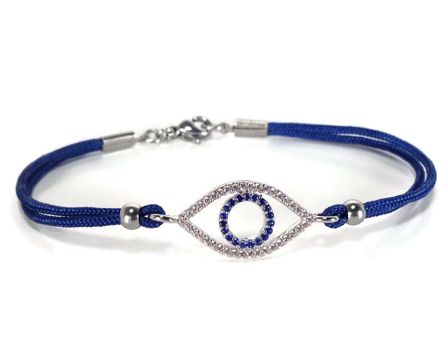 Evil eye dark blue cz bracelet