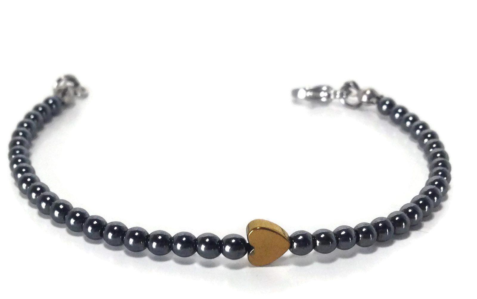 Gold heart hematite bracelet stainless steel