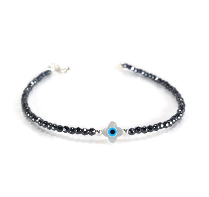 Hematite evil eye cross mother of peal tiny beads