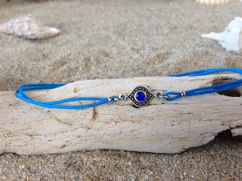 Tiny blue evil eye bracelet