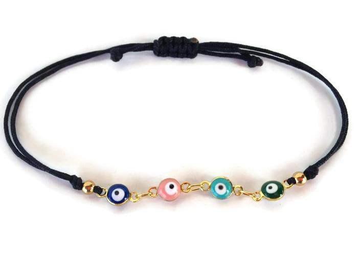 evil eye gold plated stainless steel bracelet