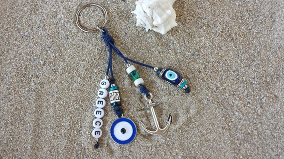 Anchor evil eye keychain