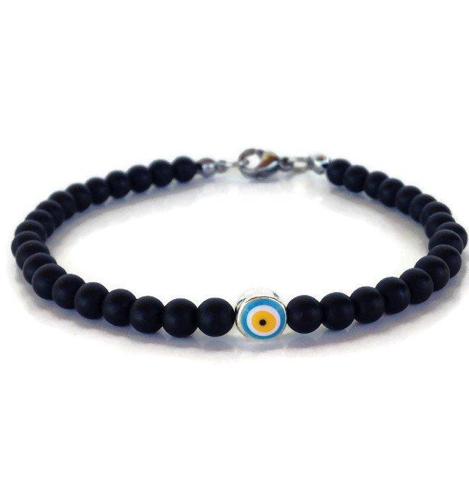 evil eye onyx beads bracelet