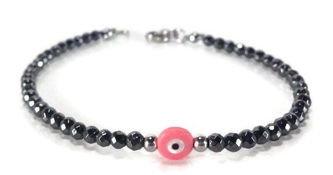 evil eye pink hematite bracelet