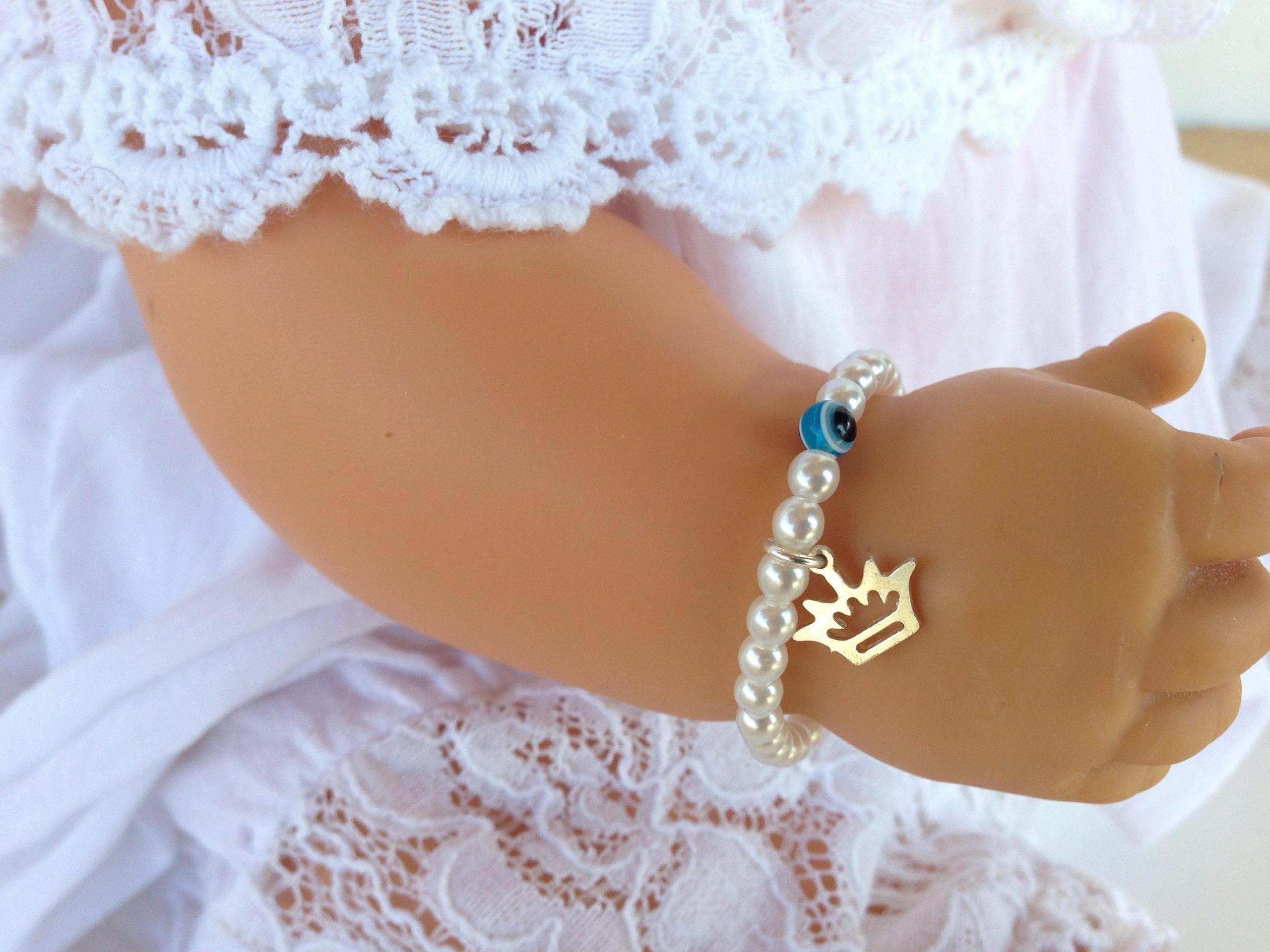 Evil eye crown pearl bracelet