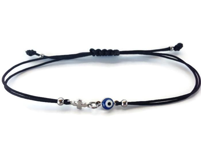 tiny evil eye cross bracelet dark blue in silver stainless