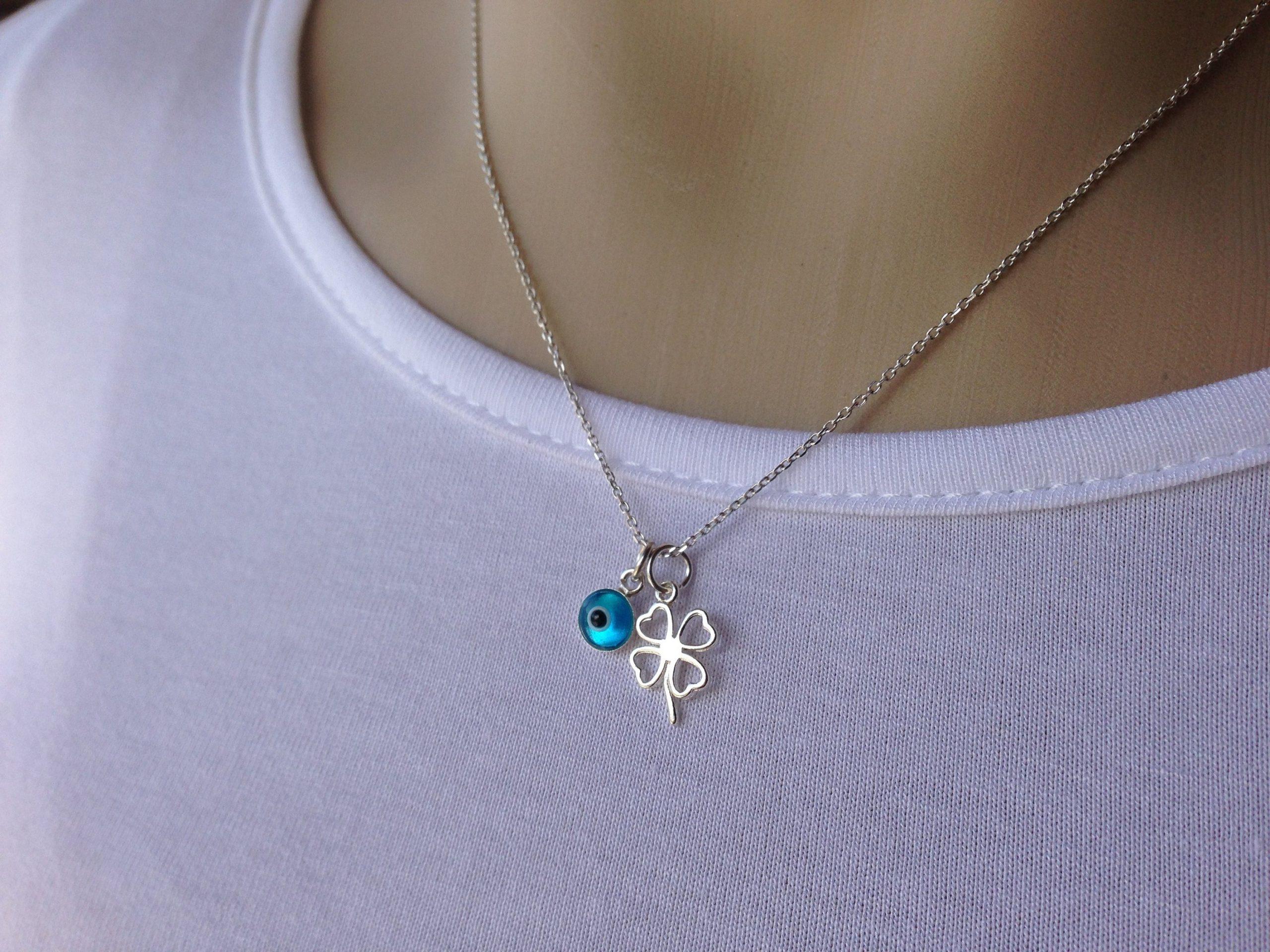 clover evil eye necklace