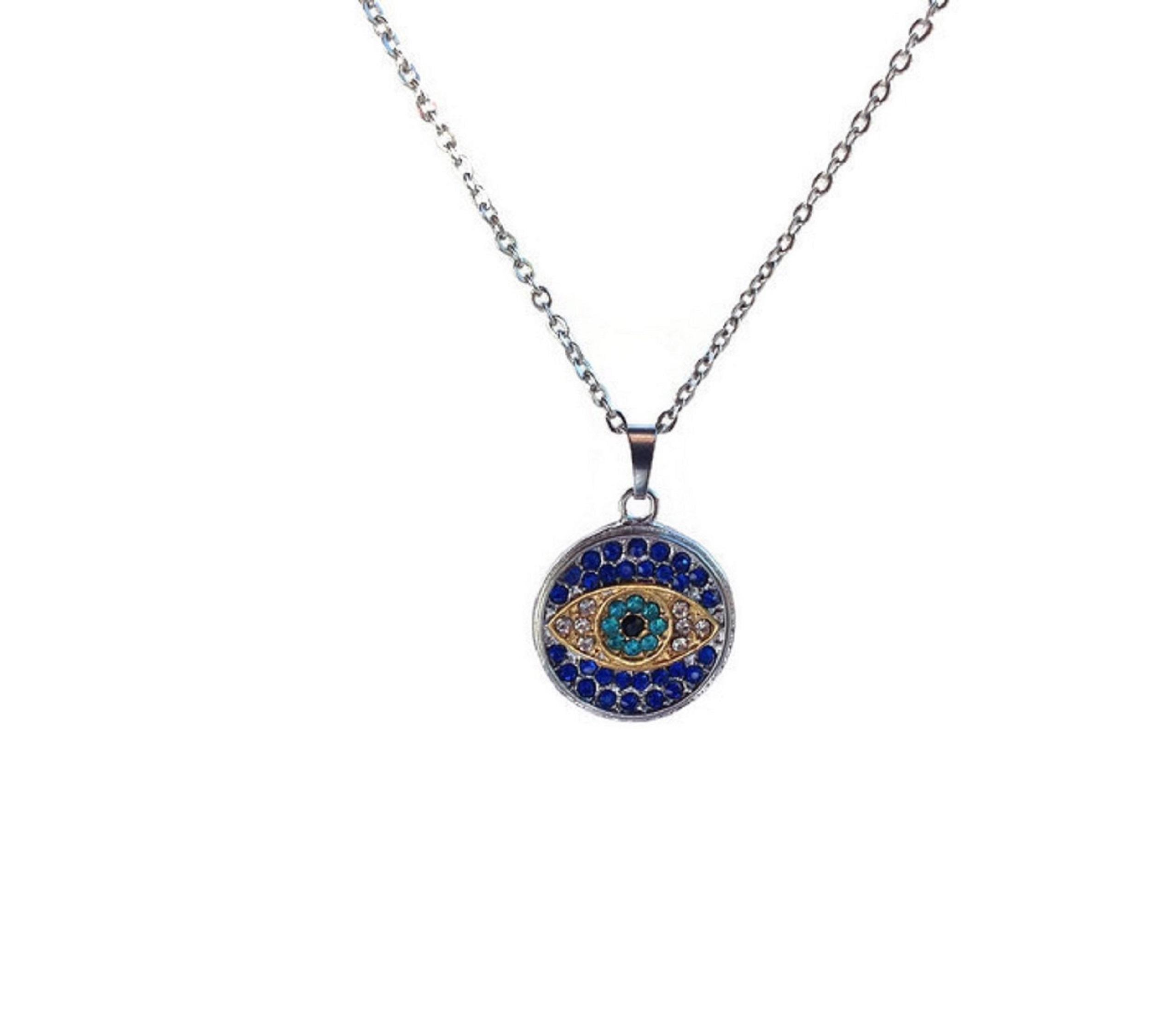 evil eye rhinestone pendant in stainless steel