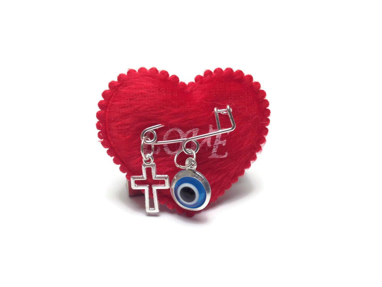 evil eye heart safet pin
