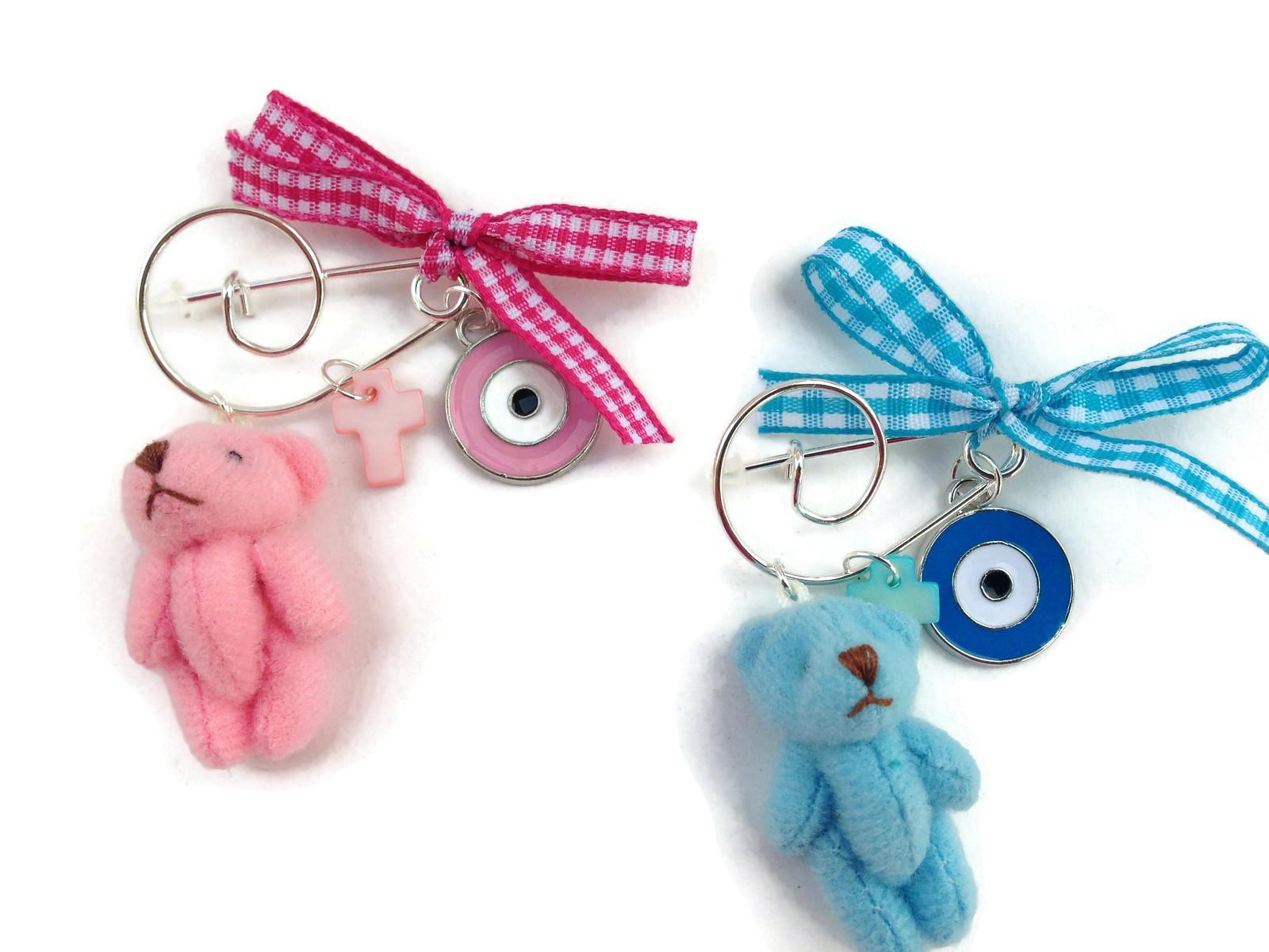 evil eye pluch teddy bear safety pin