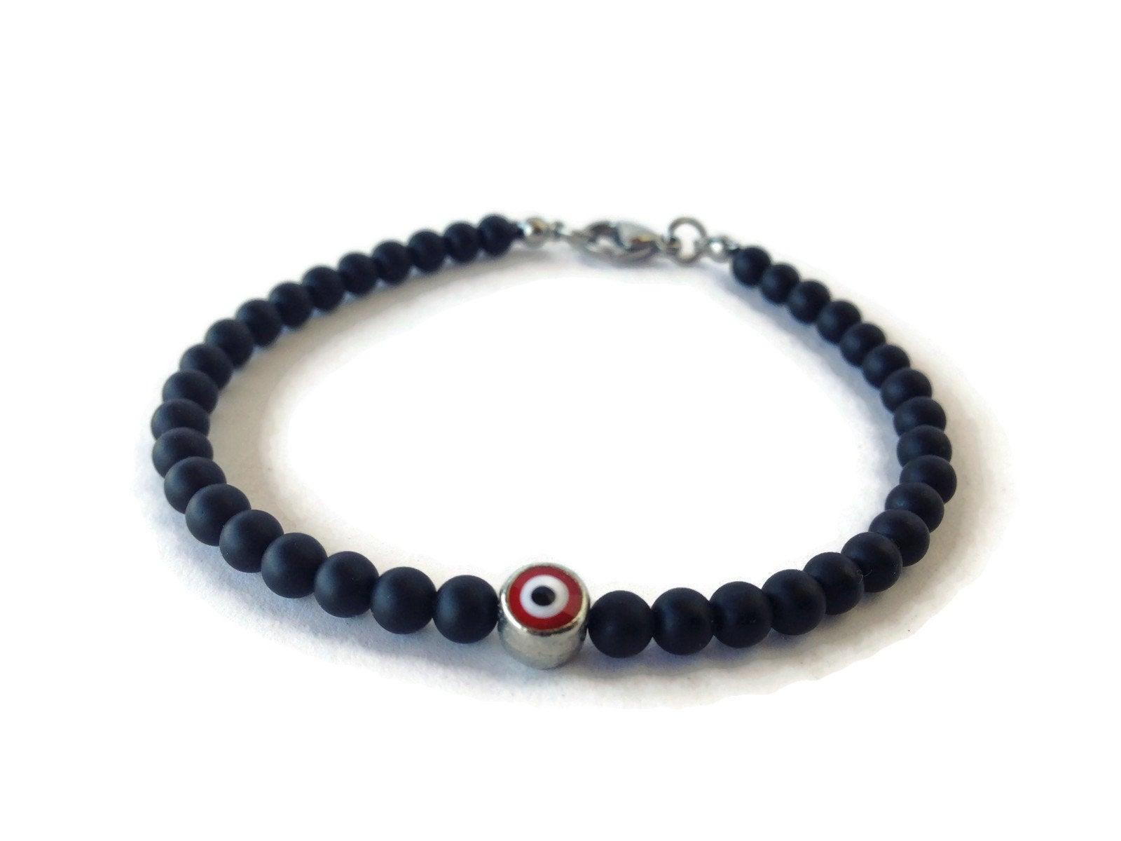 red evil eye mens bracelet