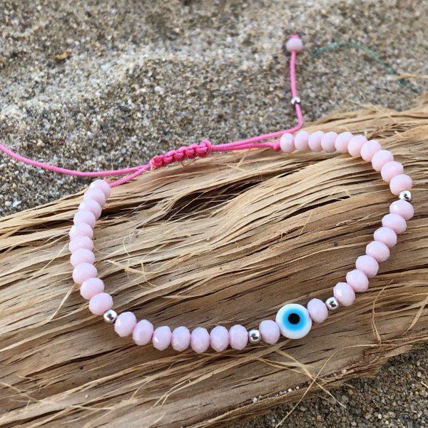 Pink pastel evil eye bracelet