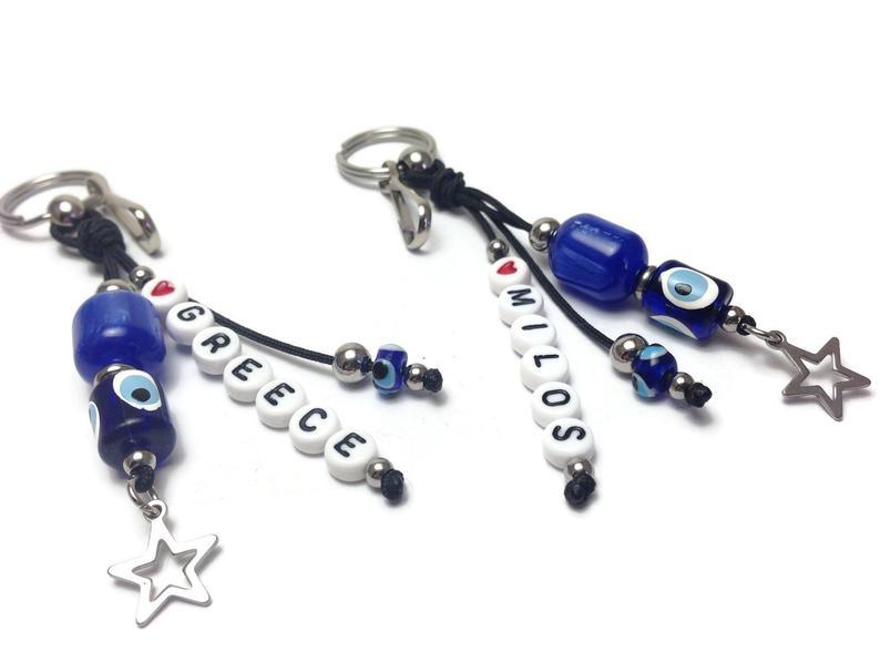 Evil eye personalised handbag charm, Greek purse charm, keyring