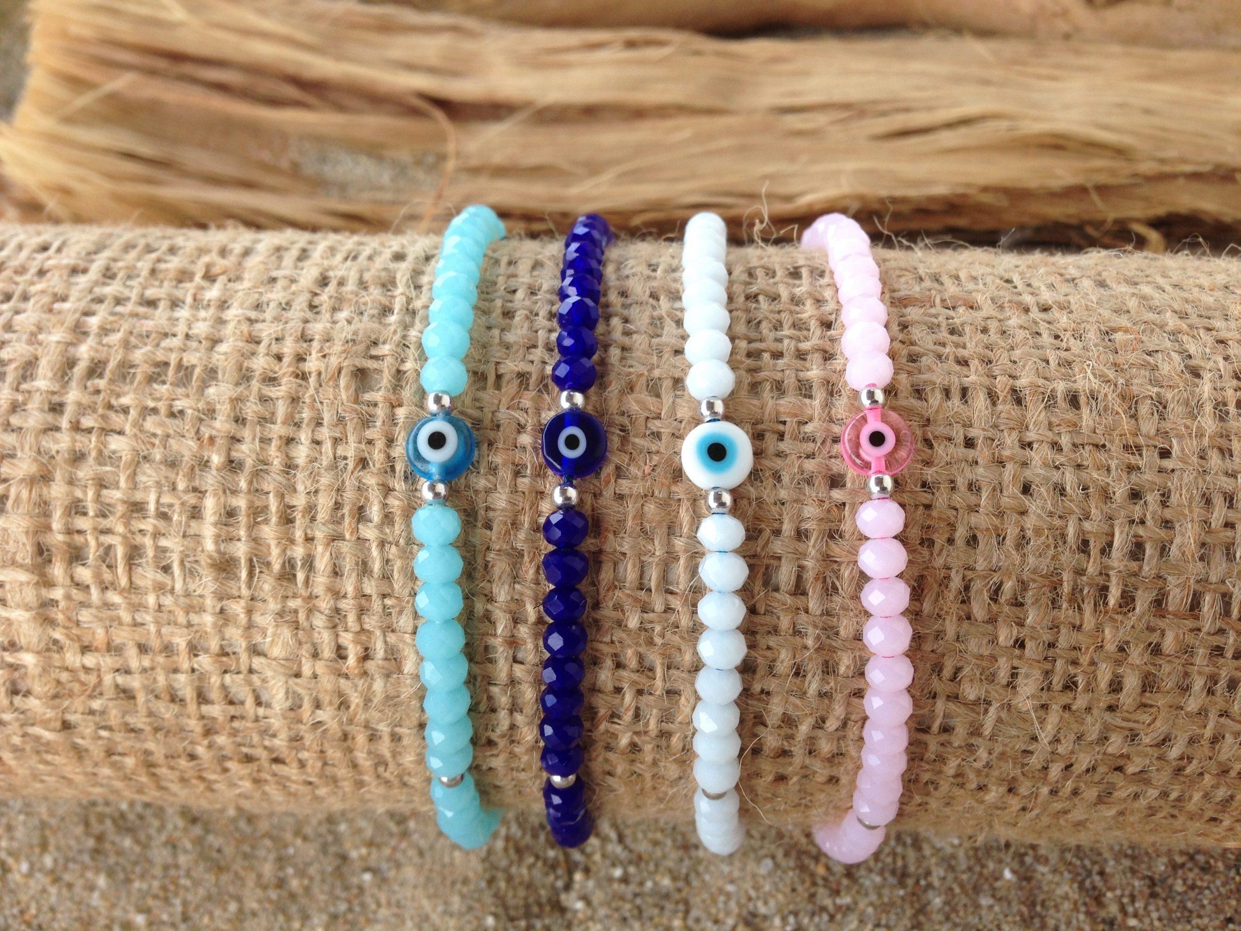 evil eye crystal beads bracelet