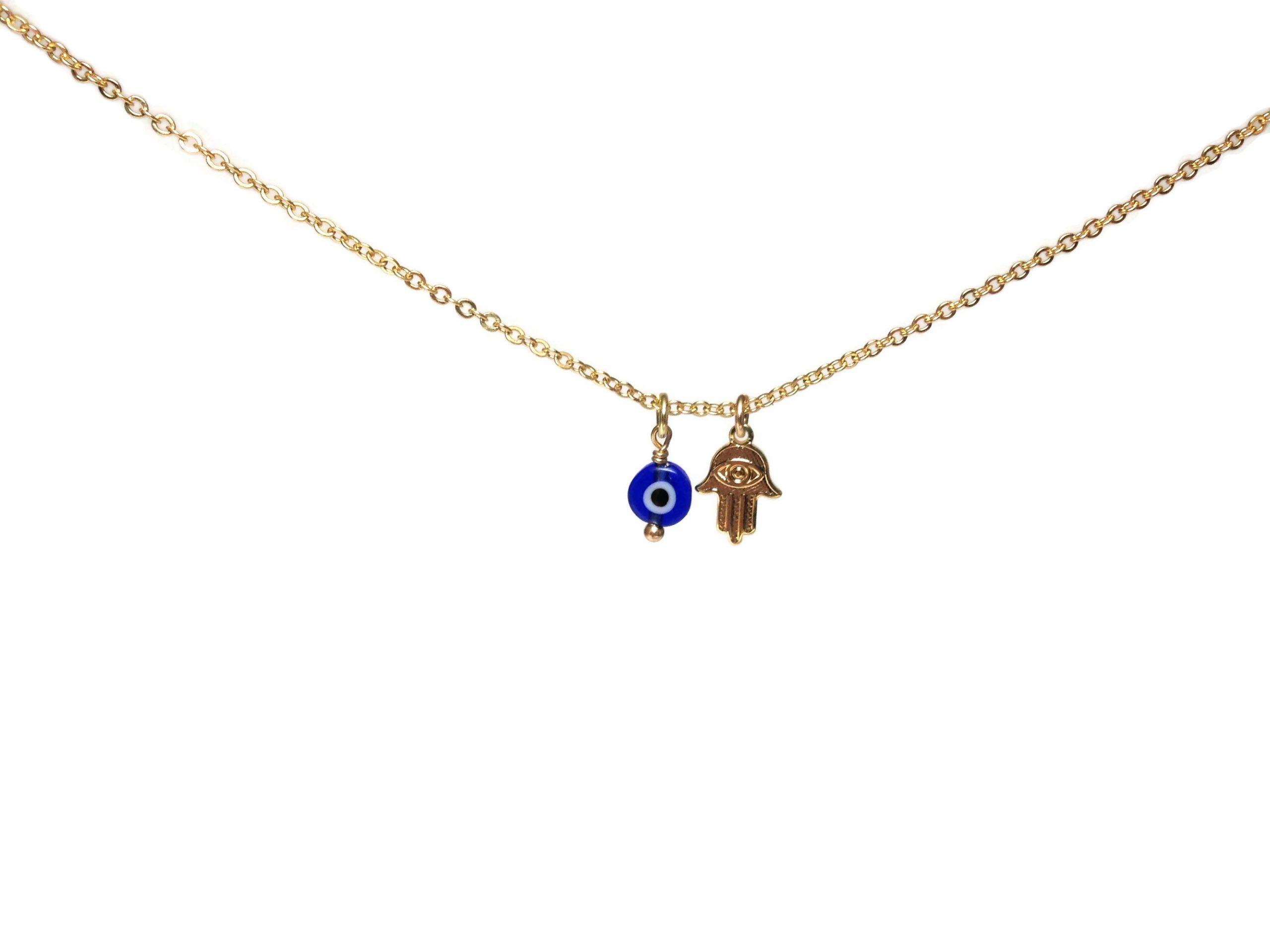 evil eye hamsa gold filled necklace