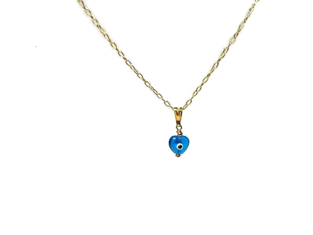 evil eye necklace for her in gold filled