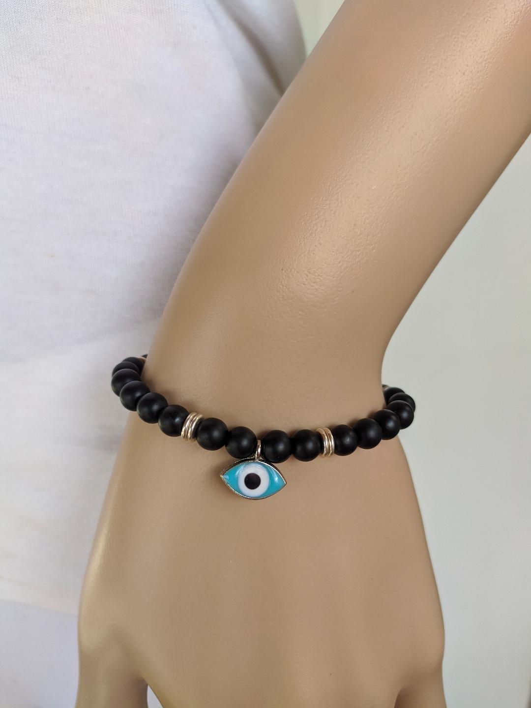 ONYX stones evil eye bracelet