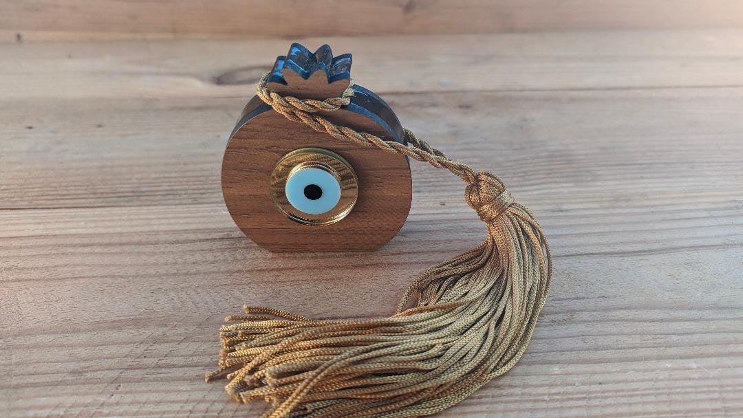 wooden evil eye house ornament