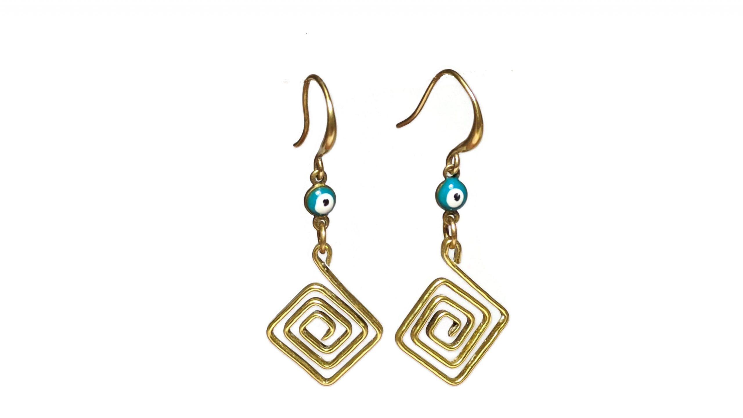Greek key evil eye earrings