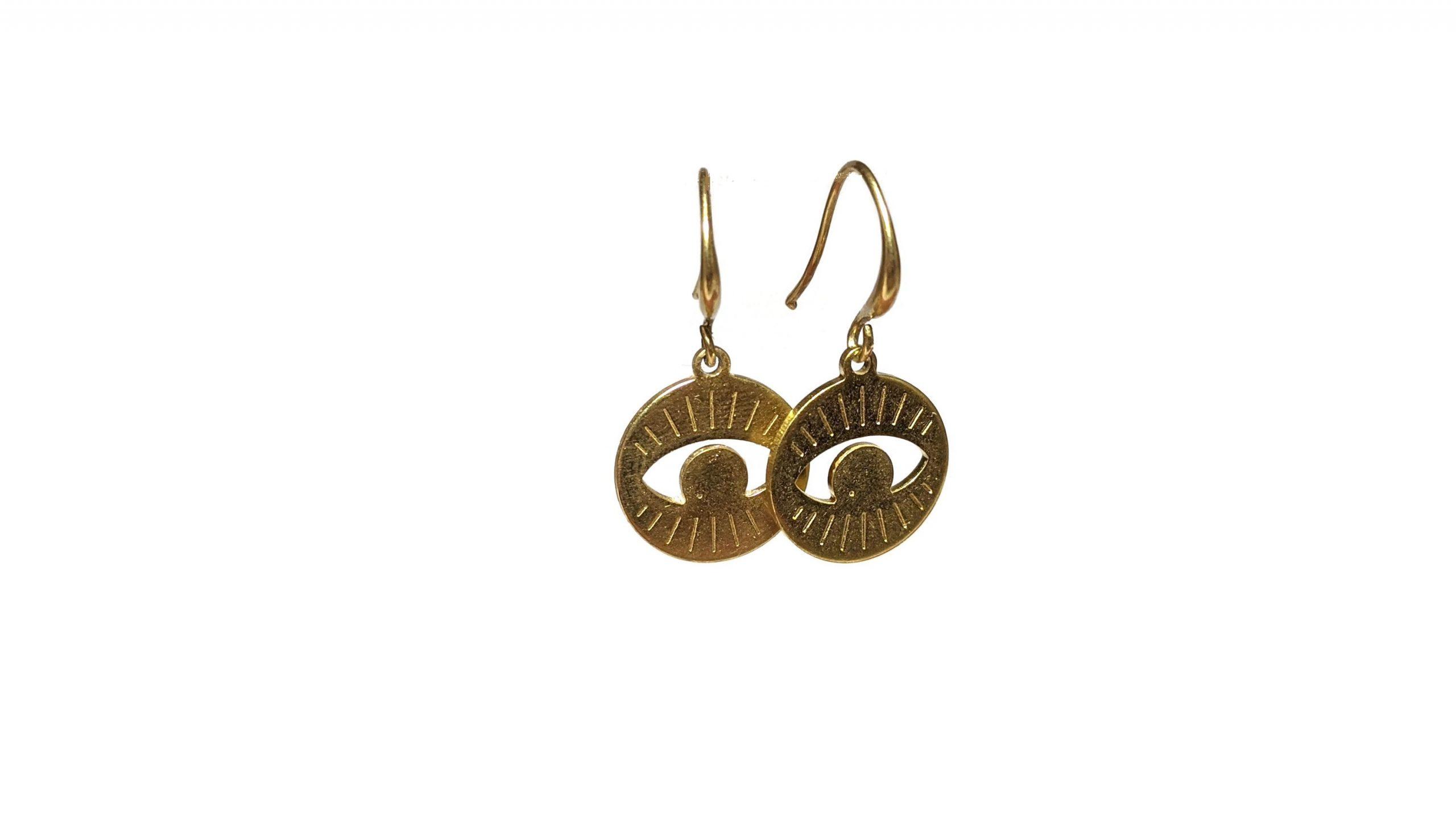 Brass evil eye earrings