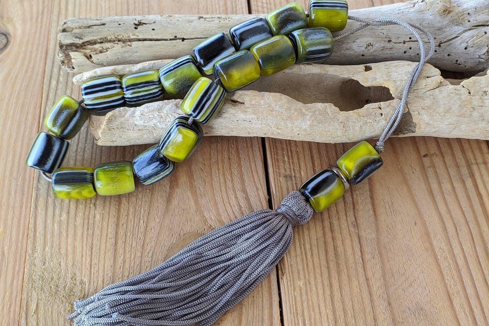 tassel green worry beads