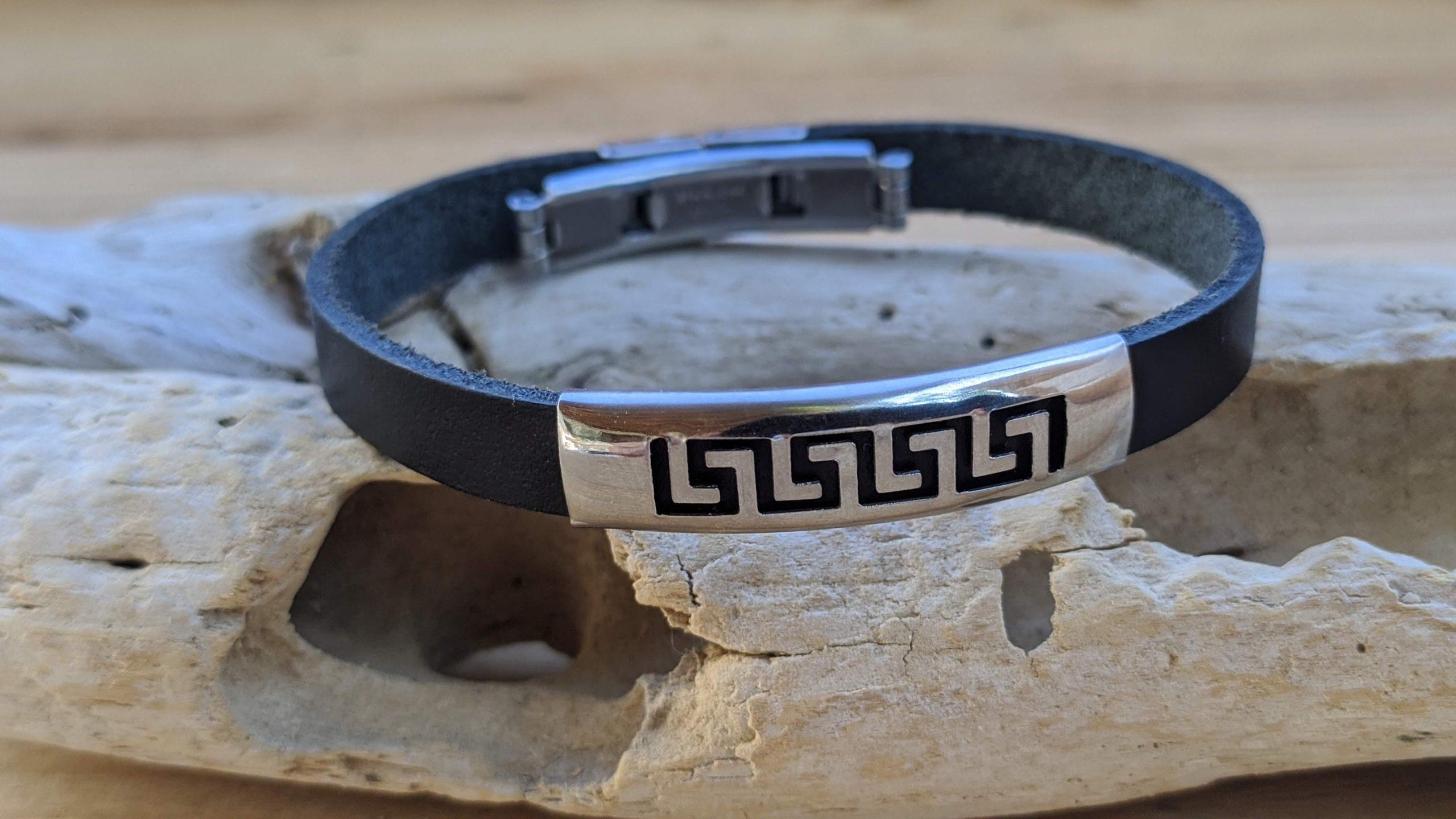 Greek key leather bracelet