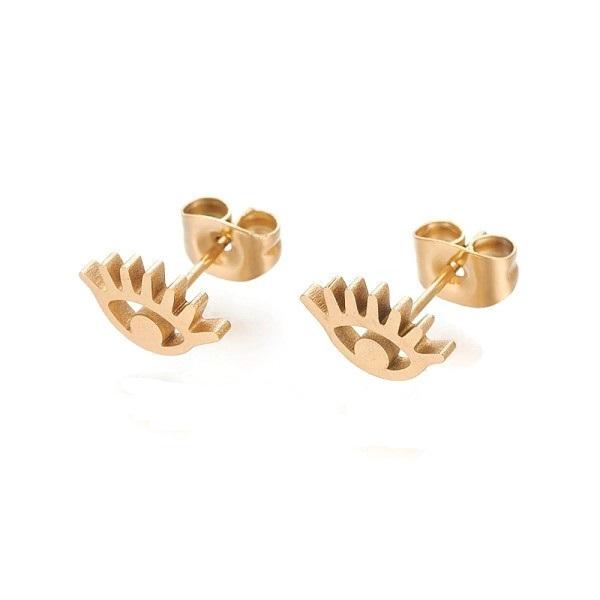 tiny gold evil eye earrings