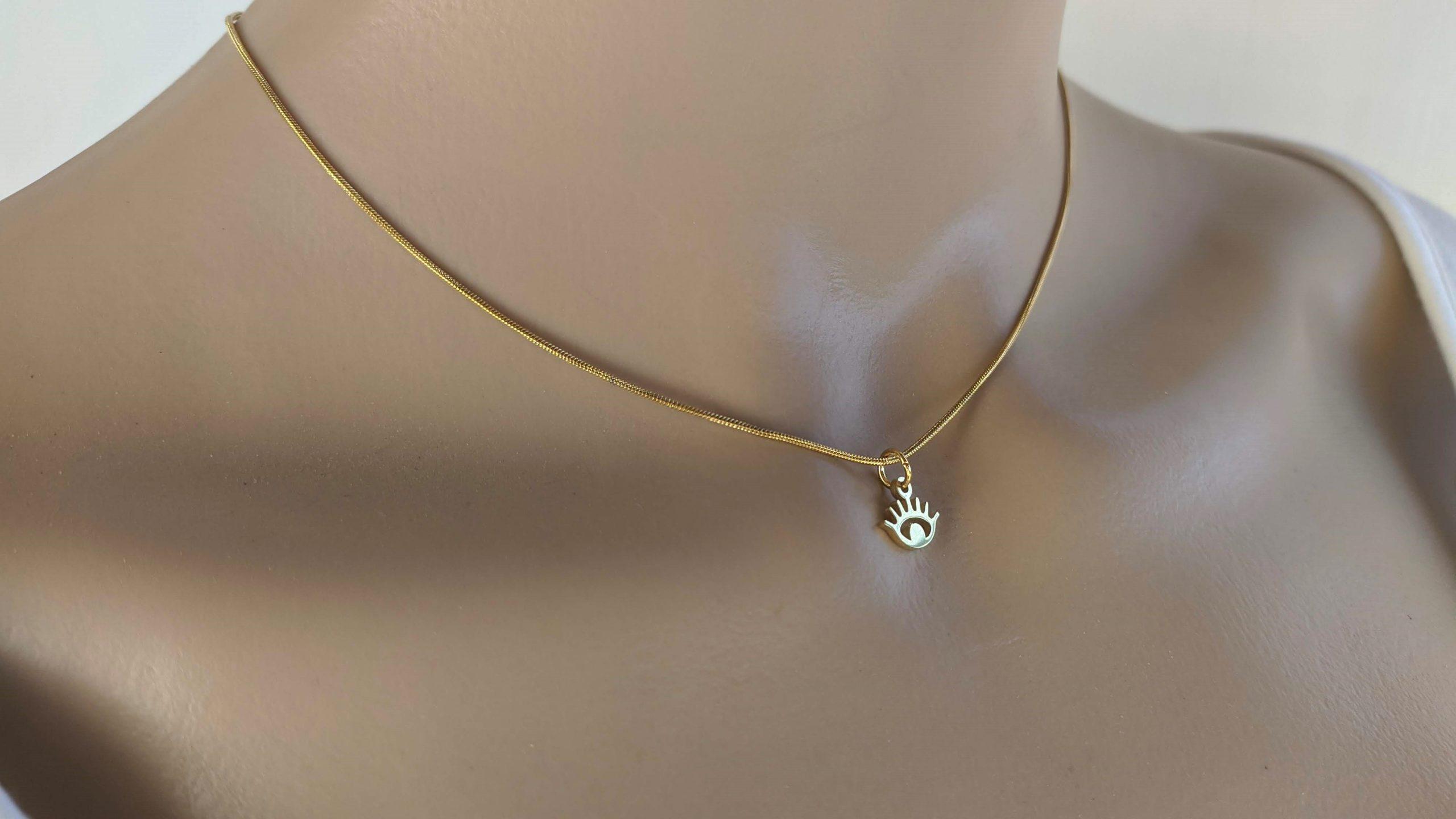 Gold tiny evil eye necklace